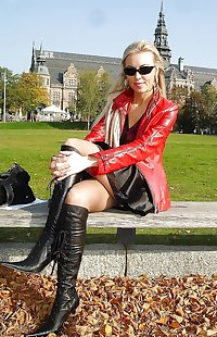 Leather latex PVC boots 4