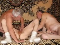 Mature woman shows her hairy pussy
