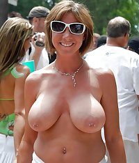 Amateur matures out and about with their tits hanging out 4