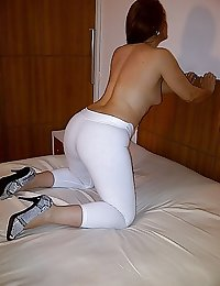 My Curvy Brazilian Wife wearing a tight white suplex